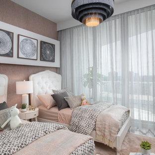 Свежая идея для дизайна: детская в современном стиле с спальным местом, белыми стенами, ковровым покрытием и розовым полом для девочки - отличное фото интерьера