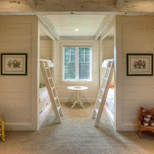Kids' bedroom - cottage gender-neutral carpeted and beige floor kids' bedroom idea in Seattle with beige walls