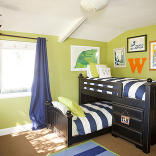 Inspiration for a mid-sized contemporary boy carpeted kids' room remodel in Orange County with green walls