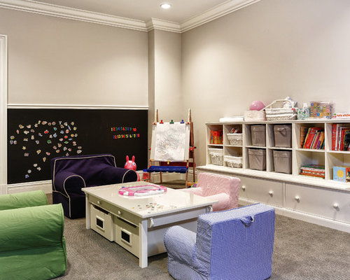 Traditional Carpeted Playroom Idea In New York With Gray Walls