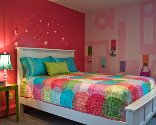 Inspiration For A Timeless Girl Carpeted Kidsu0027 Room Remodel In Cleveland  With Pink Walls
