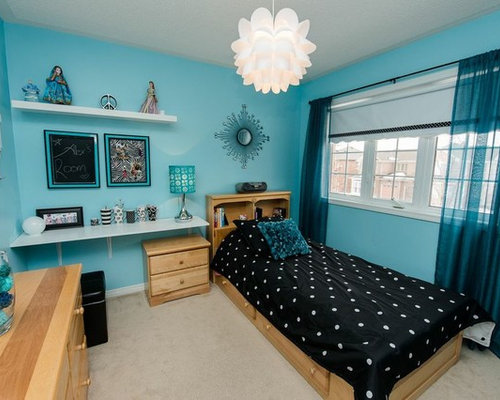 Trendy Girl Carpeted Teen Room Photo In Toronto With Blue Walls