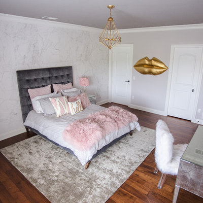 Mid-sized minimalist girl brown floor kids' room photo in Other with white walls