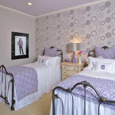 Mid-sized elegant girl carpeted kids' room photo in Houston with multicolored walls