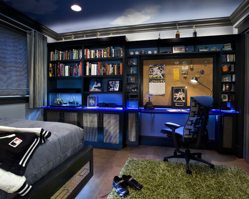Inspiration for a mid-sized contemporary boy concrete floor and brown floor  teen room remodel
