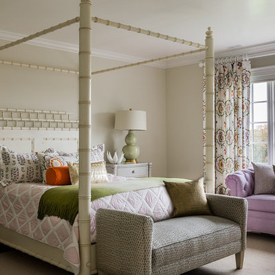 Example of a classic girl carpeted kids' room design in Boston with beige walls
