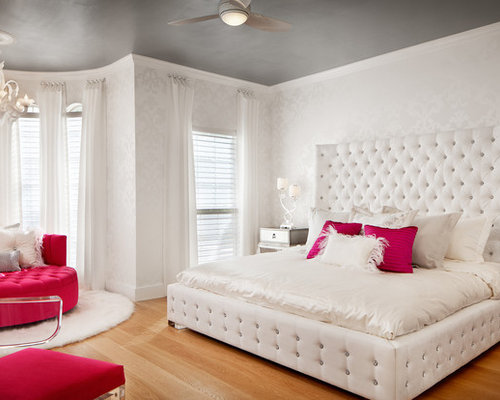 large contemporary girl medium tone wood floor kids room idea in austin with white walls