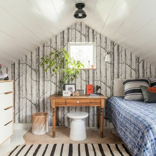 Kids' room - small eclectic boy painted wood floor kids' room idea in San Francisco with white walls