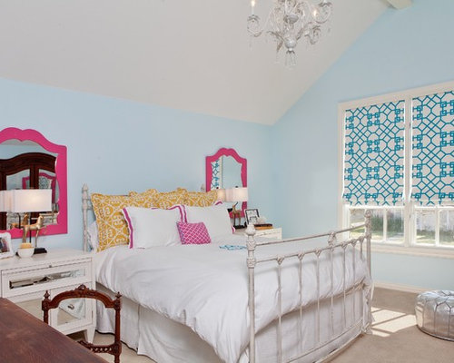 Transitional Girl Carpeted Kidsu0027 Room Photo In Dallas With Blue Walls