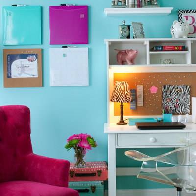 Kids' room - mid-sized contemporary girl light wood floor and beige floor kids' room idea in Atlanta with blue walls