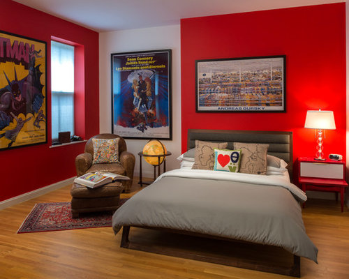 Teenage super hero bed room contemporary kids new york by - Red Nightstand Houzz