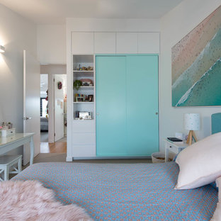 Inspiration for a contemporary teen room for girls in Brisbane with white walls, carpet and grey floor.