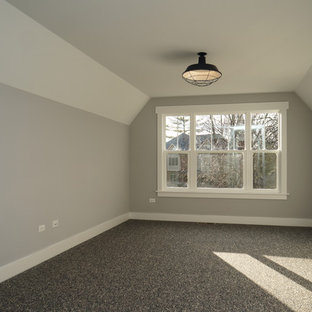 Mid-sized arts and crafts gender-neutral carpeted kids' room photo in Chicago with gray walls