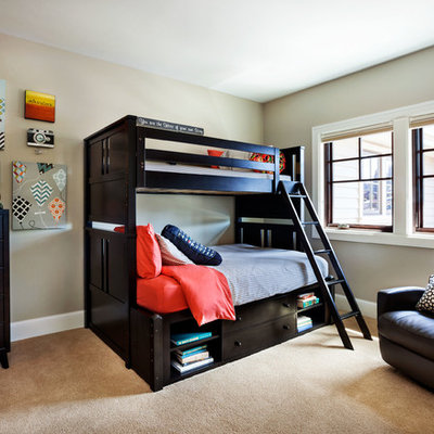 Large transitional boy carpeted and beige floor kids' room photo in Portland with beige walls