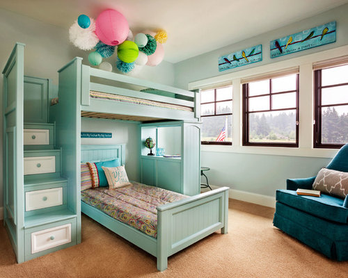 Example Of A Large Transitional Girl Carpeted Kidsu0027 Bedroom Design In  Portland With Blue Walls