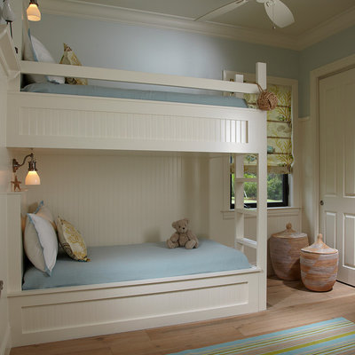Beach style gender-neutral light wood floor kids' room photo in Miami with blue walls