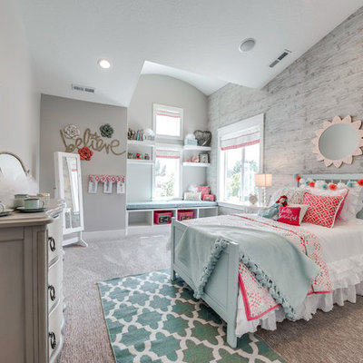 Inspiration for a mid-sized transitional girl carpeted kids' room remodel in Salt Lake City with gray walls