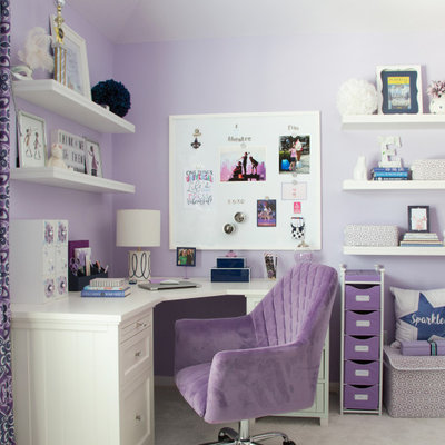 Kids' room - large transitional girl carpeted and gray floor kids' room idea in Houston with purple walls
