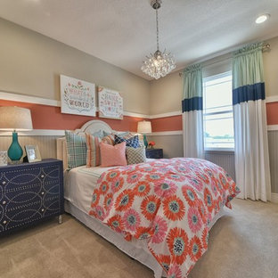 Kids' room - mid-sized traditional girl carpeted and beige floor kids' room idea in Orlando with multicolored walls