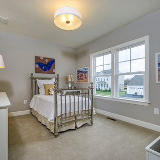 Elegant girl carpeted and beige floor kids' room photo in DC Metro with gray walls