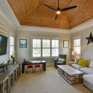 Foto de dormitorio infantil machihembrado, costero, con paredes grises y moqueta