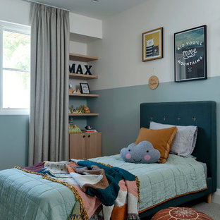 Photo of a mid-sized contemporary kids' bedroom for kids 4-10 years old and girls in Perth with carpet, blue walls and grey floor.