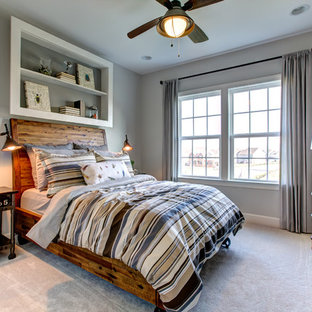 Inspiration for a rustic boy carpeted and beige floor kids' room remodel in DC Metro with gray walls