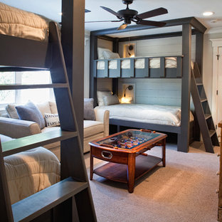 Inspiration for a mid-sized boy carpeted and beige floor kids' room remodel in Atlanta with gray walls