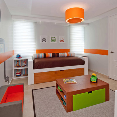 Mid-sized trendy boy marble floor kids' room photo in Other