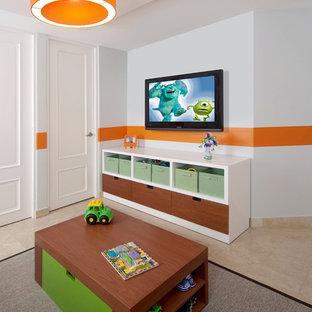 На фото: детская среднего размера в современном стиле с спальным местом и мраморным полом для ребенка от 1 до 3 лет, мальчика с