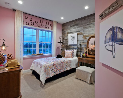 Example Of A Transitional Girl Carpeted Teen Room Design In Chicago With  Pink Walls Part 85
