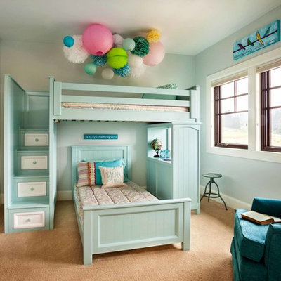 Inspiration for a timeless girl carpeted kids' room remodel in Portland with blue walls
