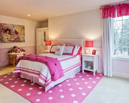 Pink white bedroom houzz for 4 yr old bedroom ideas