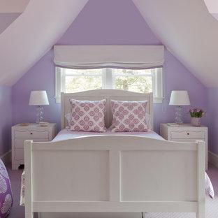 Elegant kids' room photo in Boston with purple walls