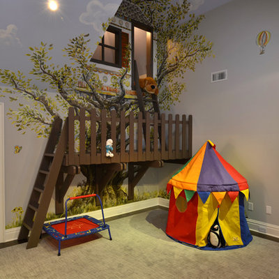 Example of a classic gender-neutral kids' room design in New York with multicolored walls