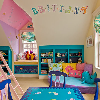 Elegant girl carpeted kids' room photo in Boston with multicolored walls