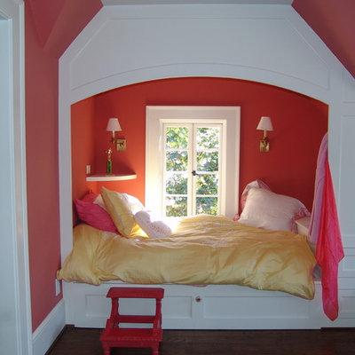 Kids' room - traditional girl dark wood floor kids' room idea in Atlanta with pink walls