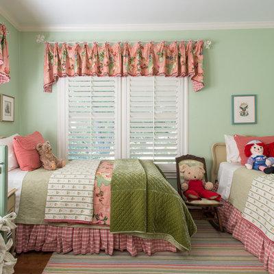 Kids' room - traditional girl dark wood floor kids' room idea in Dallas with blue walls