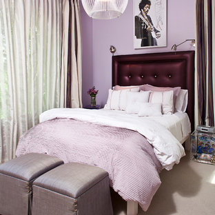 Inspiration for a transitional teen room remodel in Las Vegas with purple walls