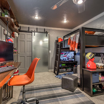 Example of a small transitional boy carpeted and gray floor kids' room design in Oklahoma City with gray walls