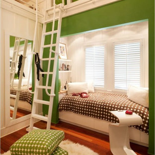 Transitional girl kids' bedroom photo in Hawaii with green walls