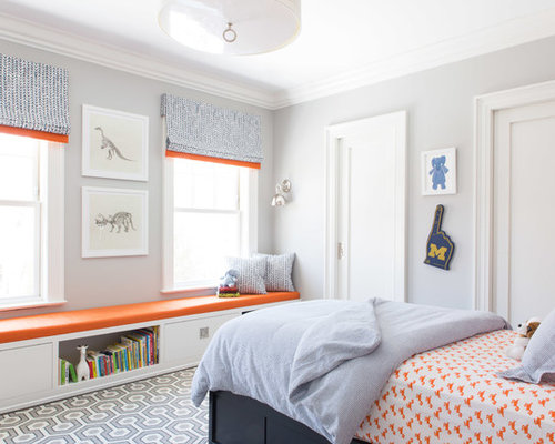 Inspiration For A Transitional Boy Carpeted Kidsu0027 Room Remodel In New York  With Gray Walls Part 42