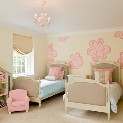 Inspiration for a timeless girl carpeted kids' room remodel in DC Metro with multicolored walls