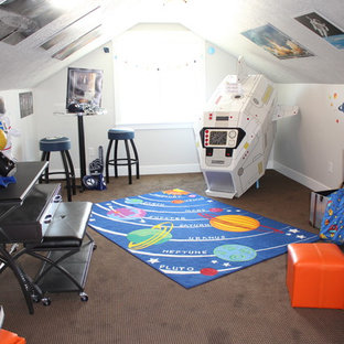 Playroom - large craftsman gender-neutral carpeted playroom idea in Salt Lake City with gray walls