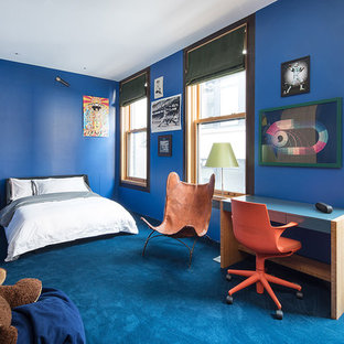 Trendy Boy Carpeted And Blue Floor Kidsu0027 Room Photo In New York With Blue  Walls
