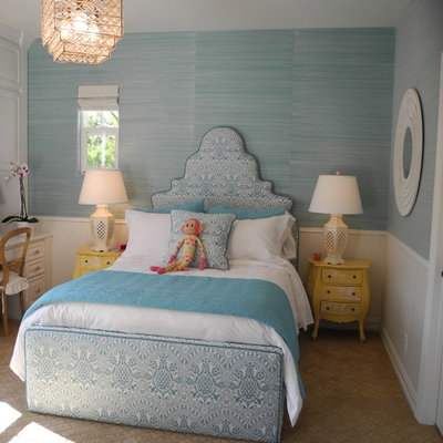 Example of a classic girl kids' room design in Los Angeles with multicolored walls