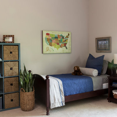 Example of a mid-sized transitional boy carpeted and beige floor kids' room design in Nashville with beige walls