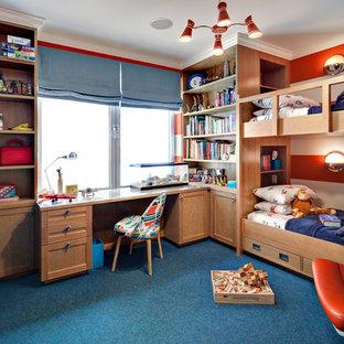 Modelo de dormitorio infantil de 4 a 10 años, actual, con moqueta, suelo azul y paredes multicolor