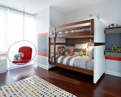 example of a midsized trendy boy dark wood floor kidsu0027 room design in