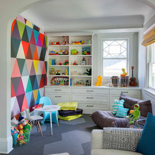 Transitional Gender Neutral Carpeted Playroom Photo In Minneapolis With Multicolored Walls